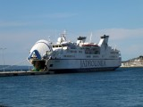One of the large ferries taking people, cars, and trucks to the various cities and islands in the Adriatic
