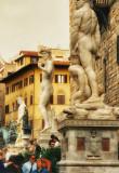 Sculptures on the Piazza della Signoria Outside the Uffizi Gallery