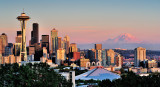 Seattle Sunset with Mt Rainier in the Background