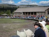 Crowd Waiting For Old Faithful Geyser