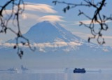 03 mt rainier with lenticular clouds, vashon ferry, port of tacoma