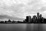 Chicago skyline, Navy Pier, Black and White