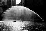 Chicago river, Wrigley building, Chicago, Black and White