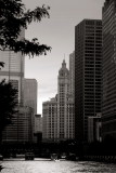 Wrigley building, Chicago River, Black and White