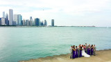 Wedding photography, Chicago skyline, museum campus