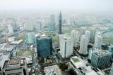 Nissan headquarters, Fuji-Xerox R&D building, M.M. Towers Foresis, Yokohama, view from Landmark Tower, Japan