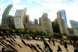 Reflections in the cloud, Cloud Gate, Chicago, Illinois