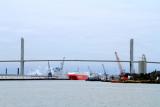 Talmadge Bridge, Savannah river and port