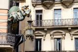 Dragon window, La Rambla, Barcelona, Spain