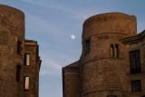 Moon rising, Barcelona, Spain