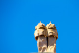 Casa Milà roof architecture, chimneys known as espanta bruixes (witch scarers), Barcelona, Spain