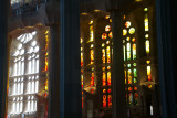 Stained glass, light and dark, Sagrada Familia, Antoni Gaudi, Barcelona, Spain