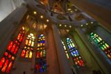Stained glass, Nave, Sagrada Familia, Antoni Gaudi, Barcelona, Spain