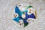 Unique tiles, Park Guell, Antoni Gaudi, Barcelona, Spain