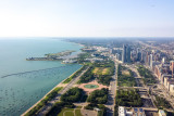 Monroe Harbor, Chicago view from the Aon Center, Museum Campus, Lake Michigan
