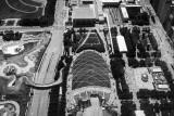 Millennium Park, Cloud Gate, Pritzker Pavilion, Chicago view from the Aon Center, Black and White