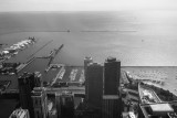 Lake Michigan, Navy Pier, Chicago view from the Aon Center, Black and White