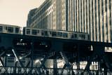 Loop train, Chicago, IL, Black and White