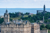 Balmoral Hotel with the National Monument and the Nelson Monument, Edinburgh, Scotland