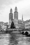 Grossmunster, Black and White, Zurich, Switzerland