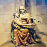 Statue, Pieta, Freiburg Munster medieval cathedral, Freiburg im Breisgau, Black Forest, Germany