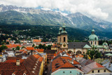 View of Innsbruck, Cathedral St. Jacob, from Clock Tower, Austria