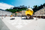 Sphaera Ball on Kapitelplatz, Man on Ball, Stephan Balkenhol , Giant Chessboard, Salzburg, Austria