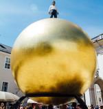 Sphaera Ball on Kapitelplatz, Man on Ball, Stephan Balkenhol,  Salzburg, Austria