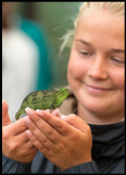 Madelene and a new friend (Chameleon) at Nairobi National Museum