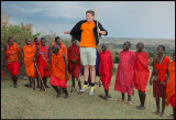 Martin jumping with the Masai boys