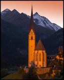 Heiligenblut church with Grossglockner (3798 m) at dusk