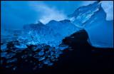 Ice formations at the beach near Jökulsarlon at dawn