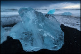 Beautiful ice blocks at the beach near Jökulsarlon