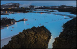 Blue Lagoon winter recreation with hot bath outside