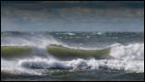 Strong winds and waves in Grönhögen (25 m/s in Kalmarsund)