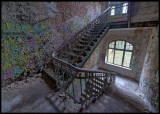 Old stair in a men`s building