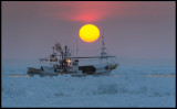 Fishing boat in the pack-ice between Japan and Russia