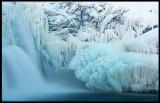 The frozen waterfall Tännforsen in Jämtland