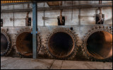 Inside autoclave house with railway tracks - Ytong