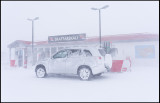 Trying to get some petrol during the storm - Kirkjubaejarklaustur