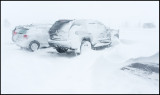 My Jeep Grand Cherokee parked outside our hotel during the storm