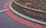Red lines on the street