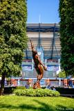 Statue and stadium