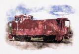 Caboose Digital Watercolor