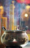 Candles and incense clouds, Wat Mongkorn, Chinatown, Bangkok