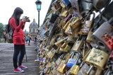 Love padlocks on the bridge