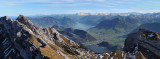 View from Mount Pilatus to the lake Lucerne
