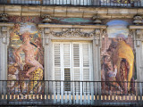 Plaza Mayor building art, Madrid, Spain