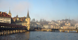 Sunset in Lucerne with slightly foggy