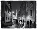 Basel night after rain